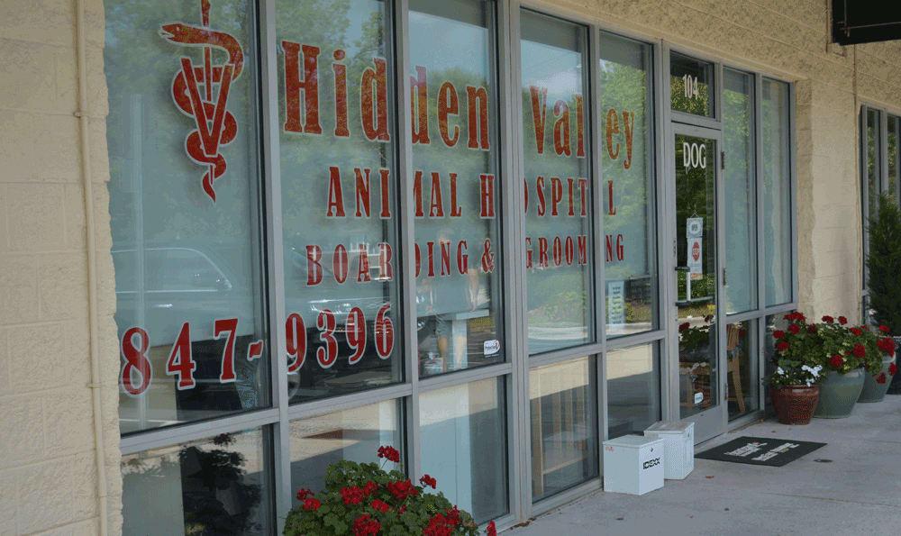 Font window at Hidden Valley Animal Hospital & Boarding