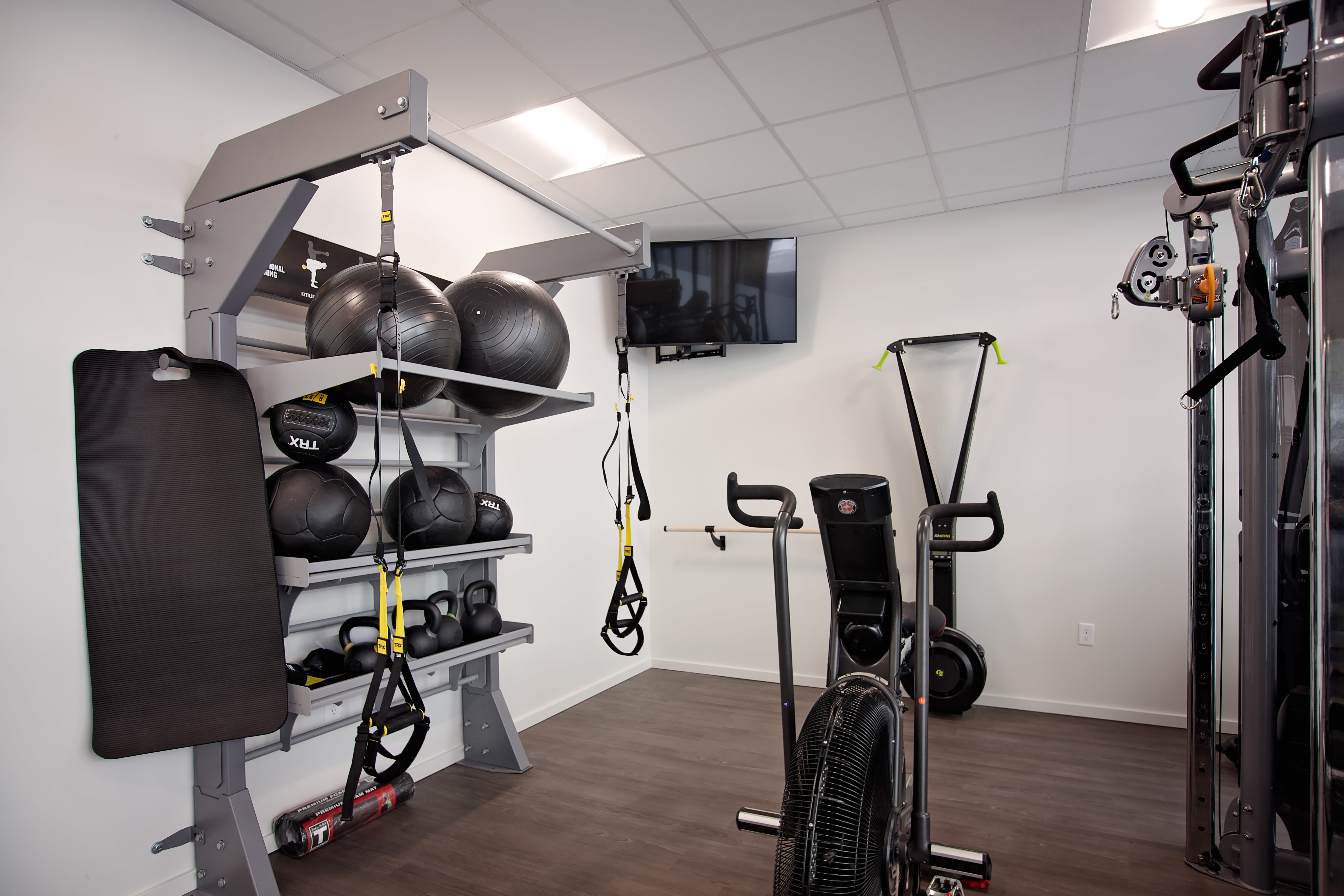 Equipment featured inside the fitness center at Grant Park Village in Portland