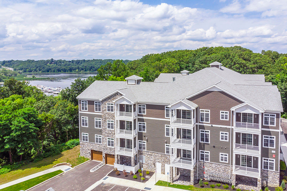 Aerial View of apartments at Waters Edge Apartments in Webster, New York