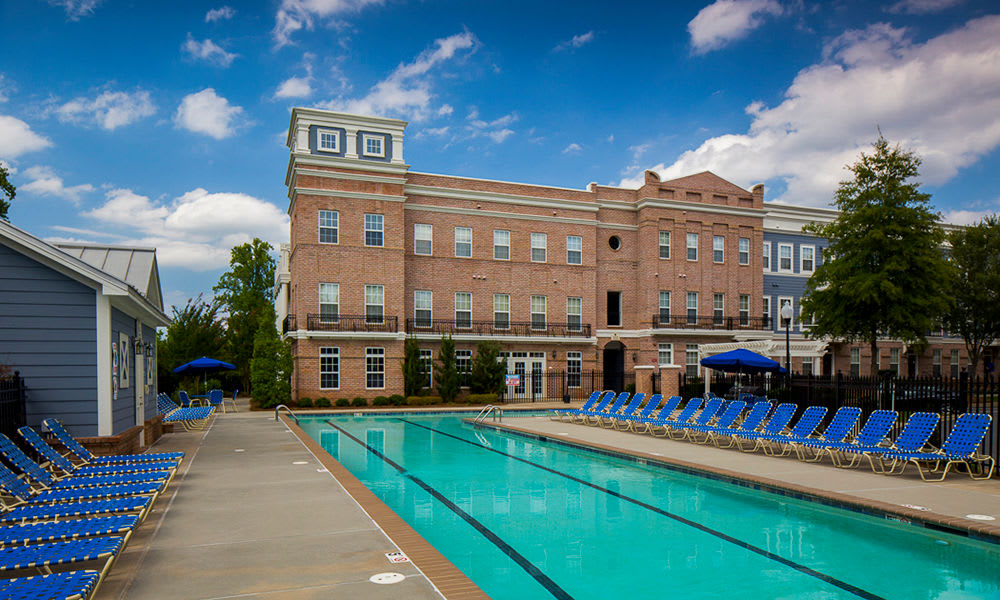 Gorgeous swimming pool at Worthington Luxury Apartments in Charlotte, NC