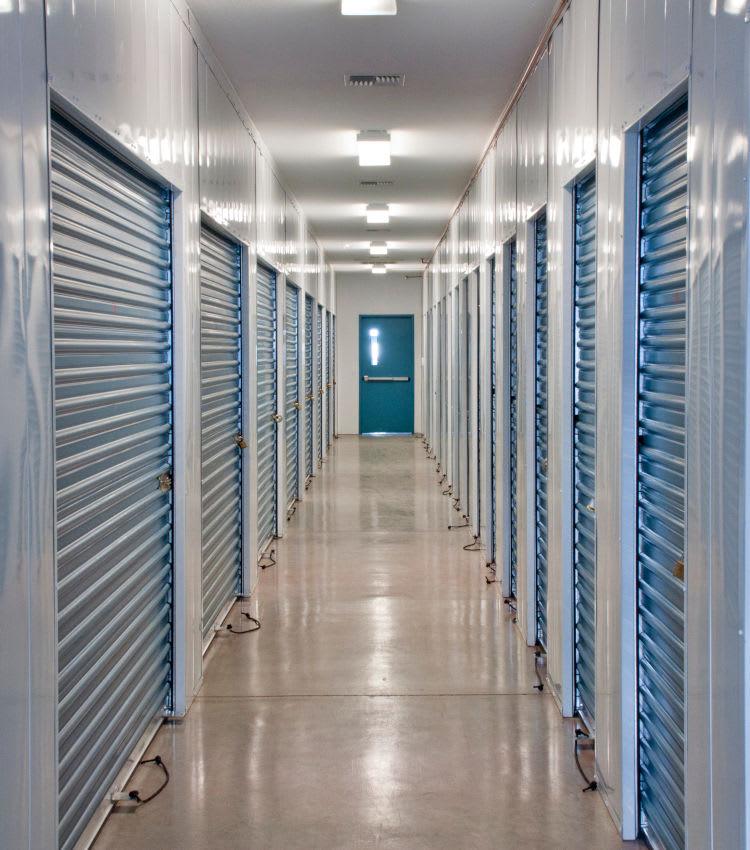 Hallway of storage units at 1-800-Self-Storage.com in Troy, Michigan