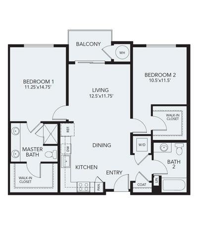 2 bedroom B2a: Approx. 1106 sq ft at Avenida Lakewood