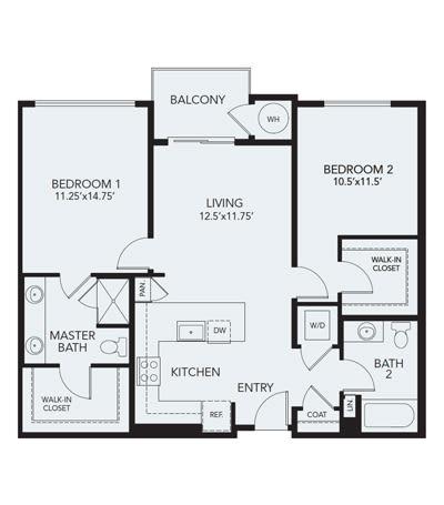 2 bedroom B2b: Approx. 1106 sq ft at Avenida Lakewood