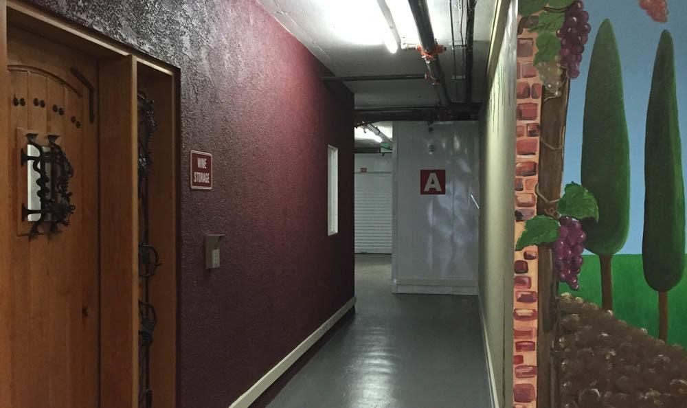 Wine storage hallway at Stor'It of Los Gatos