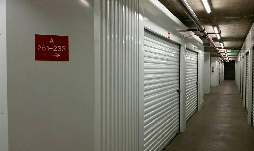 Hallway featuring many self storage units in Los Gatos, California