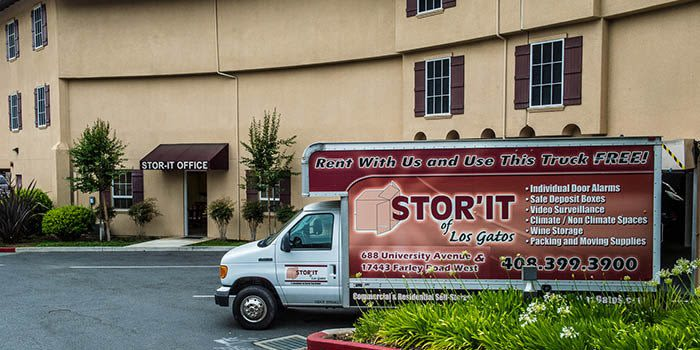 Free truck rentals at our self storage facility in Los Gatos, California