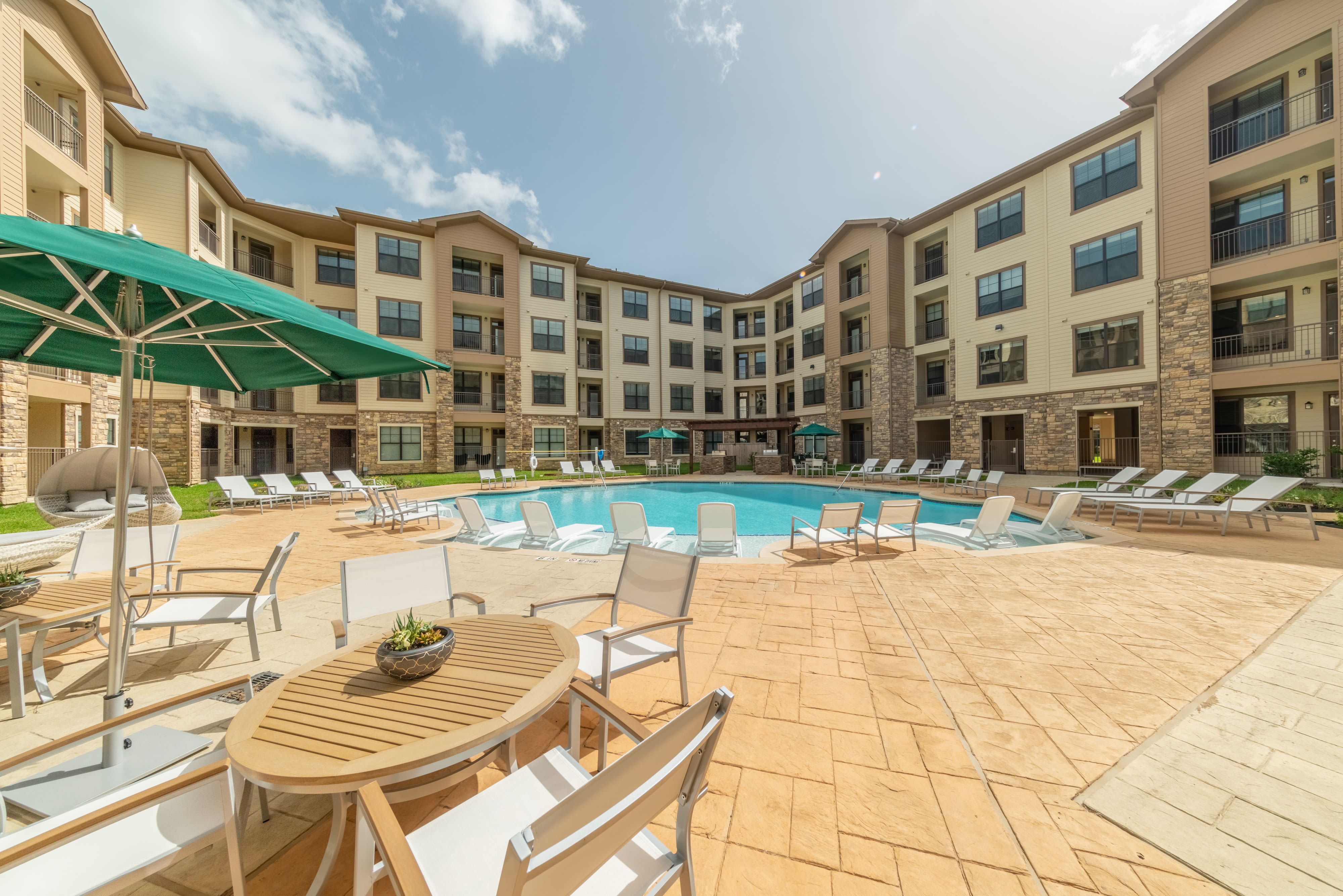Our amazing new resort-style pool at Haven at Liberty Hills in Houston, TX