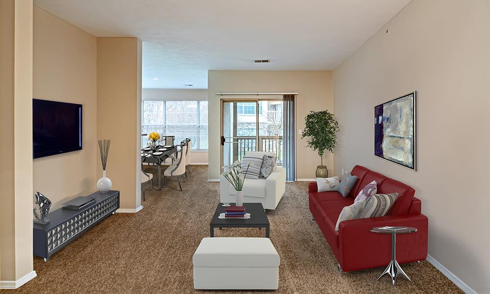 Living room at Highlands of Montour Run in Coraopolis, Pennsylvania