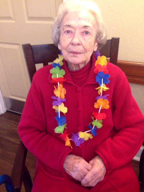 Aloha party in memory care