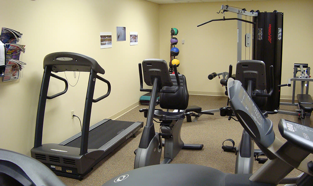 Fitness center at Greenwood Cove Apartments in Rochester, New York