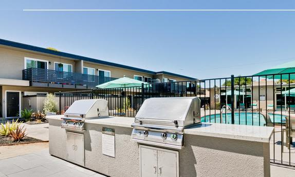 Modern BBQ area at Mosaic Hayward in Hayward, California