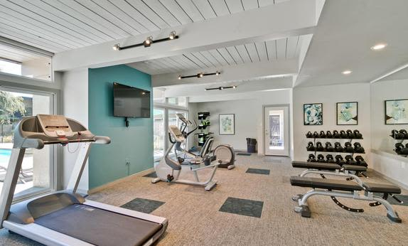 Modern fitness center at Mosaic Hayward in Hayward, California