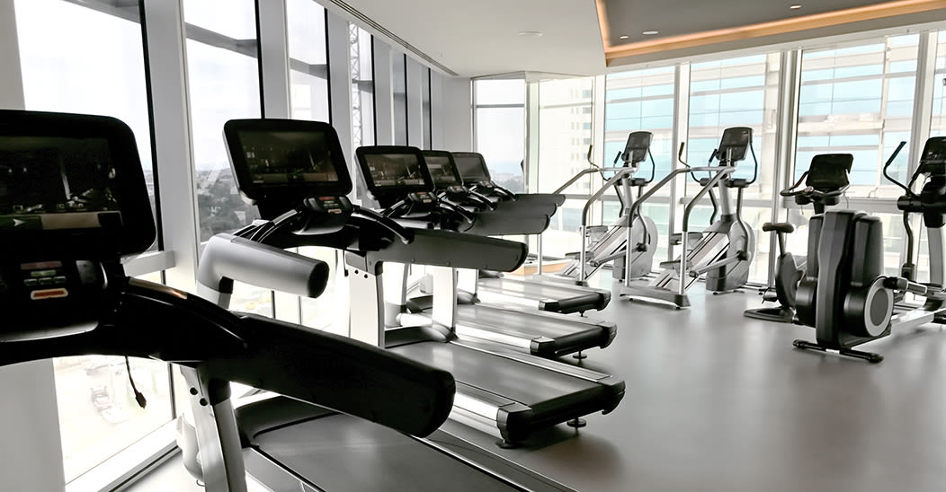 Modern fitness center at apartments in Ithaca, New York