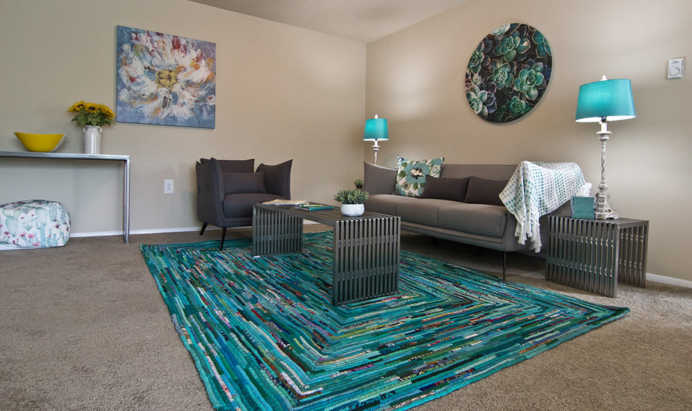 Spacious living room at Park Place of South Park in South Park, PA