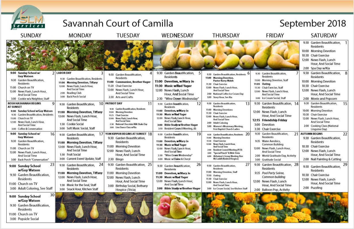 View our monthly calendar of events at Savannah Court of Camilla