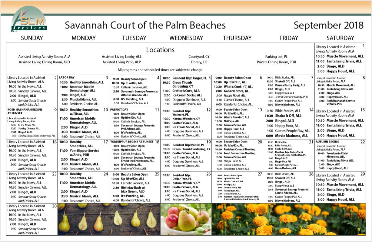 Calendar of Events at Savannah Court of the Palm Beaches