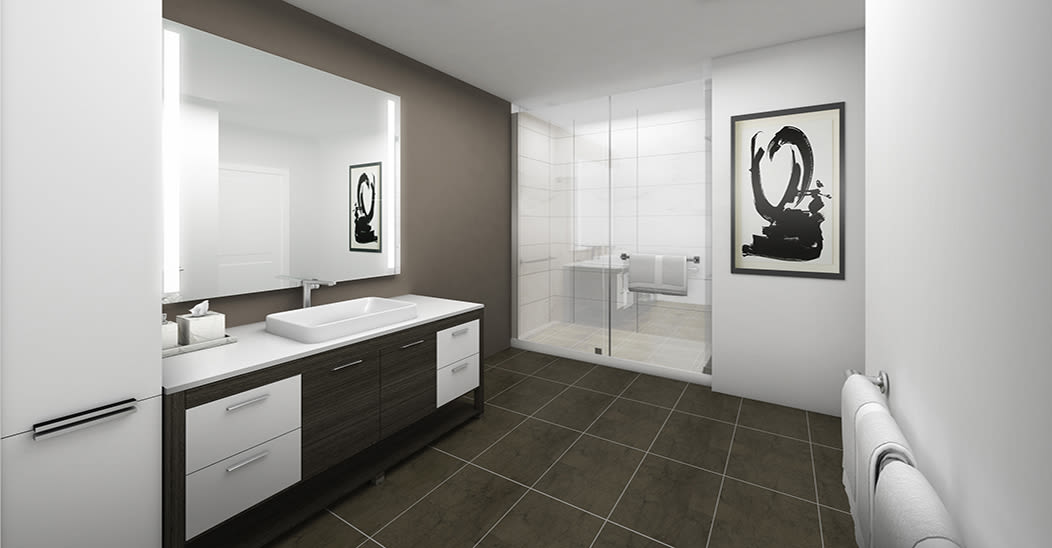 City Centre Ithaca offers a modern bathroom in Ithaca, New York