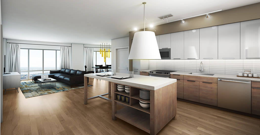 Spacious kitchen at City Centre Ithaca in Ithaca, New York