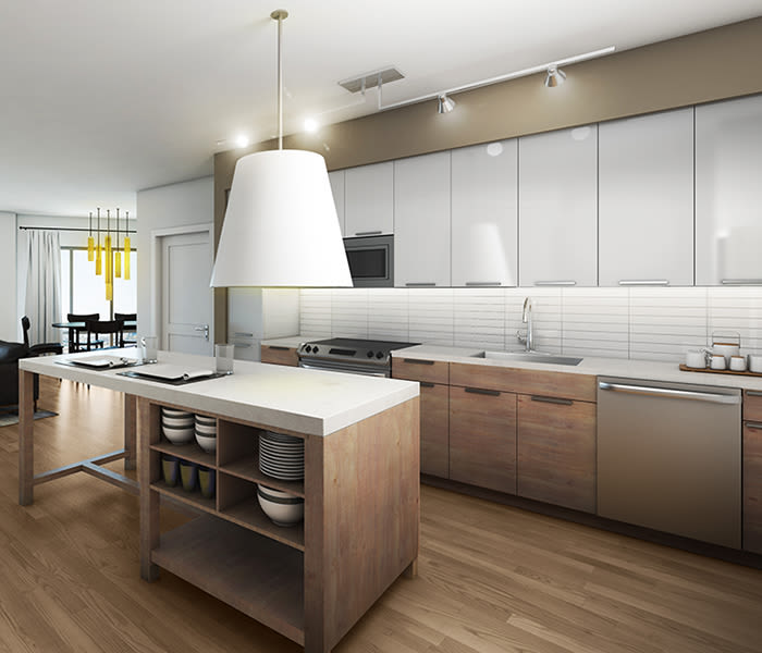 City Centre Ithaca offers a modern kitchen in Ithaca, New York