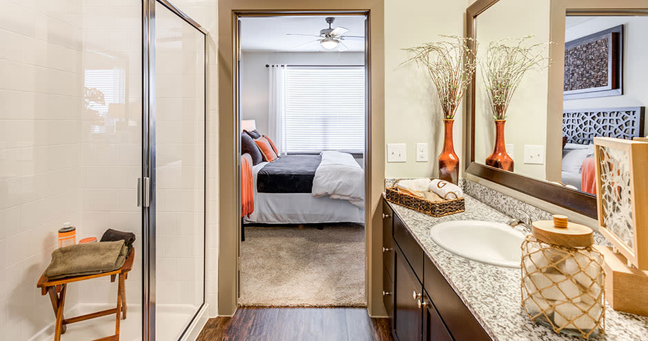 State-of-the-art bathroom at GreenVue Apartments in Richardson, Texas