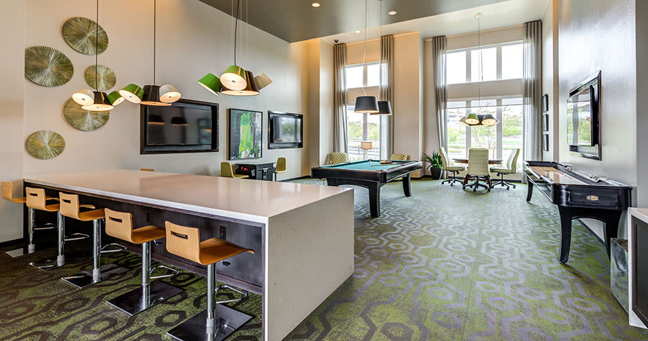 A clubhouse that is great for entertaining at apartments in Richardson, Texas