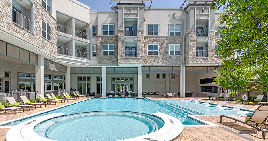 Modern swimming pool at apartments in Richardson, Texas