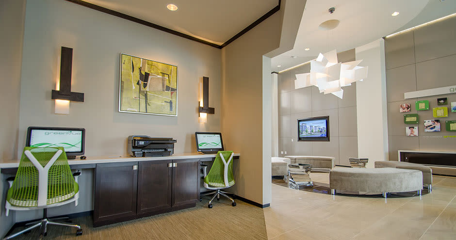 Modern business center at GreenVue Apartments in Richardson, Texas