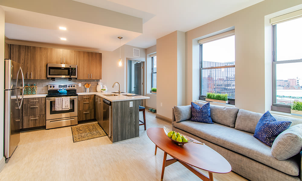 The Linc offers a beautiful living room in Rochester, New York