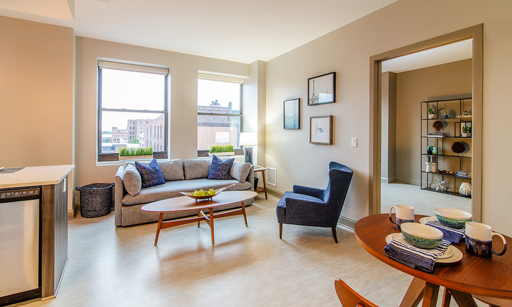 Our apartments in Rochester, New York showcase a beautiful living room