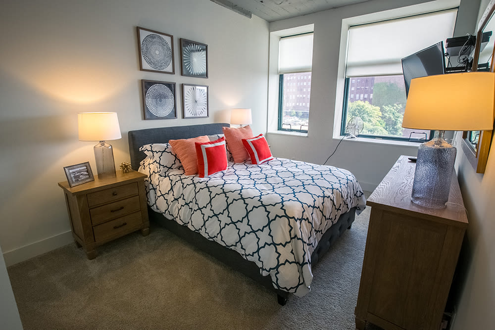 The Archer offers a beautiful bedroom in Cleveland, Ohio