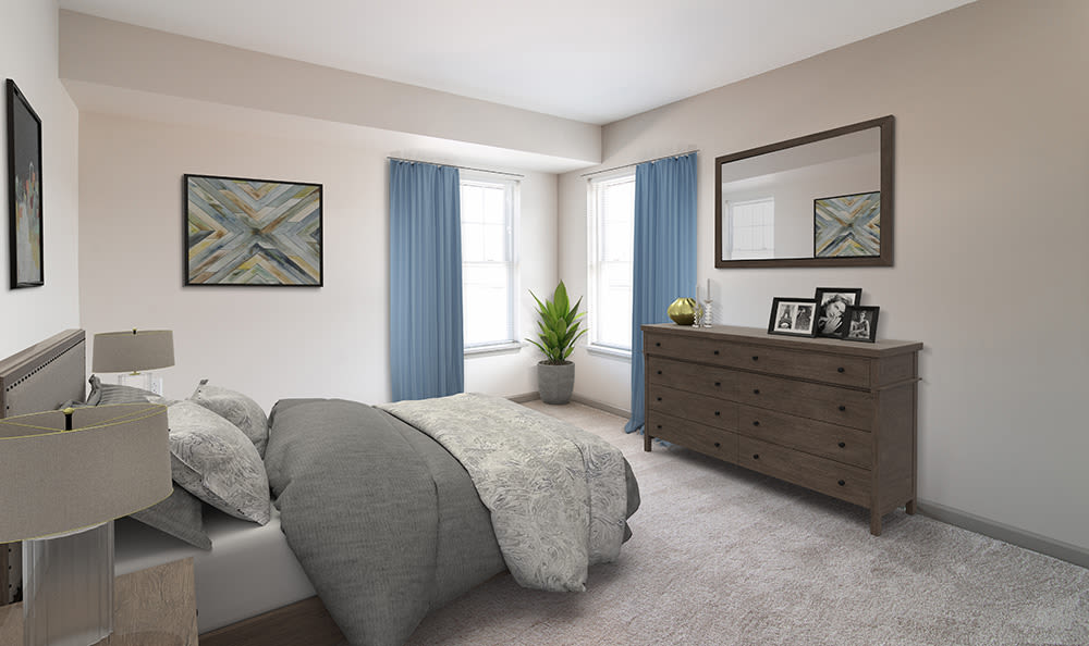 Modern bedroom at apartments in Rochester, New York