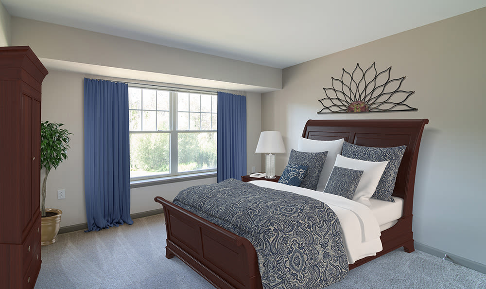 Our apartments in Rochester, New York showcase a modern bedroom