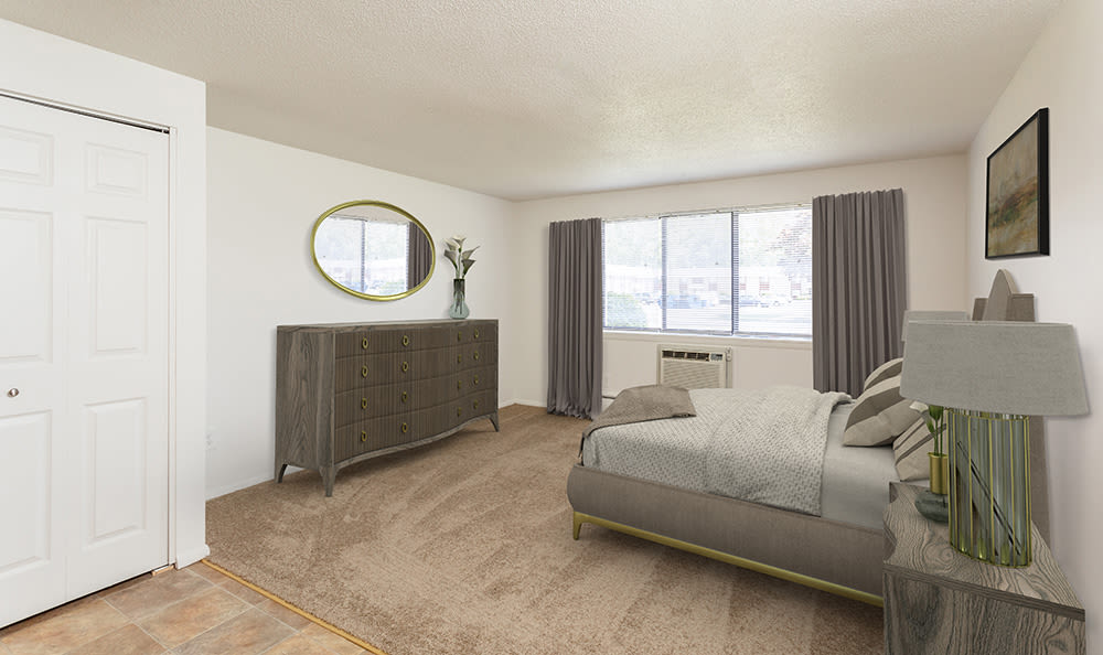 Spacious bedroom at Hilton Village II in Hilton, New York