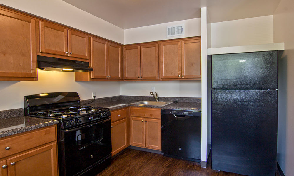 Spacious kitchen at The Cascades Townhomes and Apartments in Pittsburgh, Pennsylvania