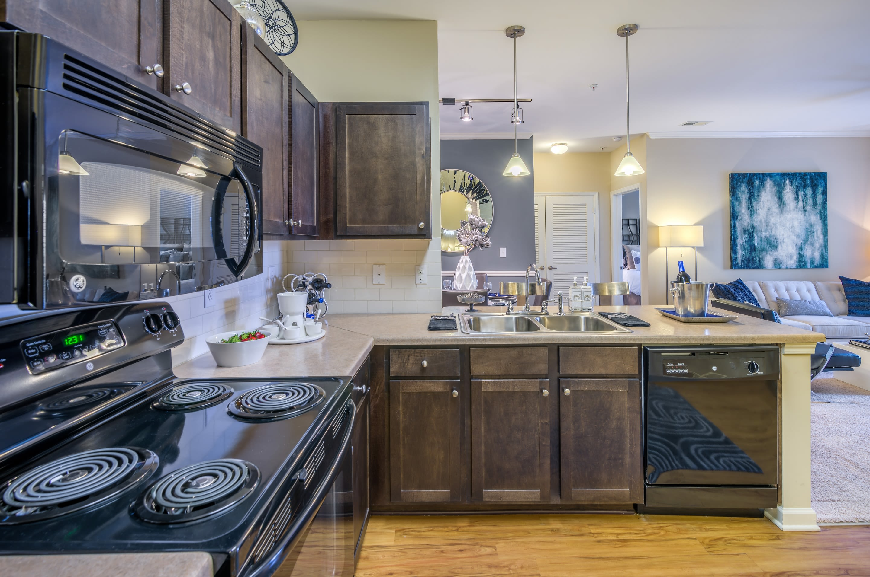 Renovated kitchens at Sterling Town Center