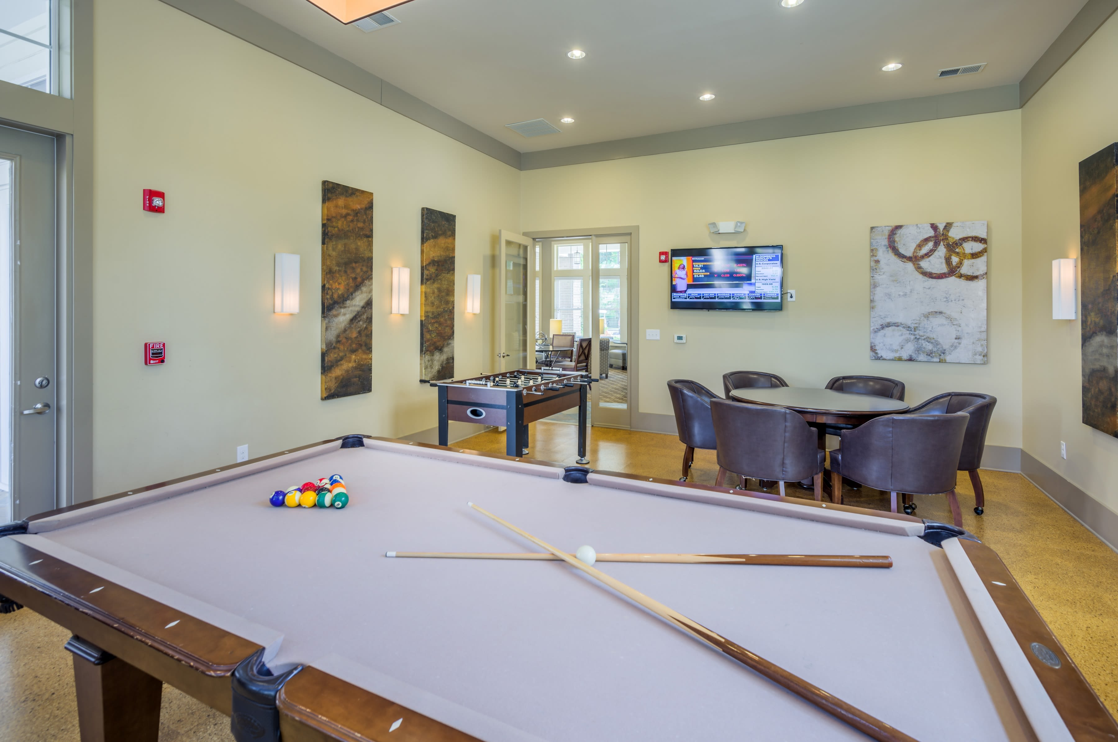 Billiards table and clubroom at Sterling Town Center in Raleigh, North Carolina