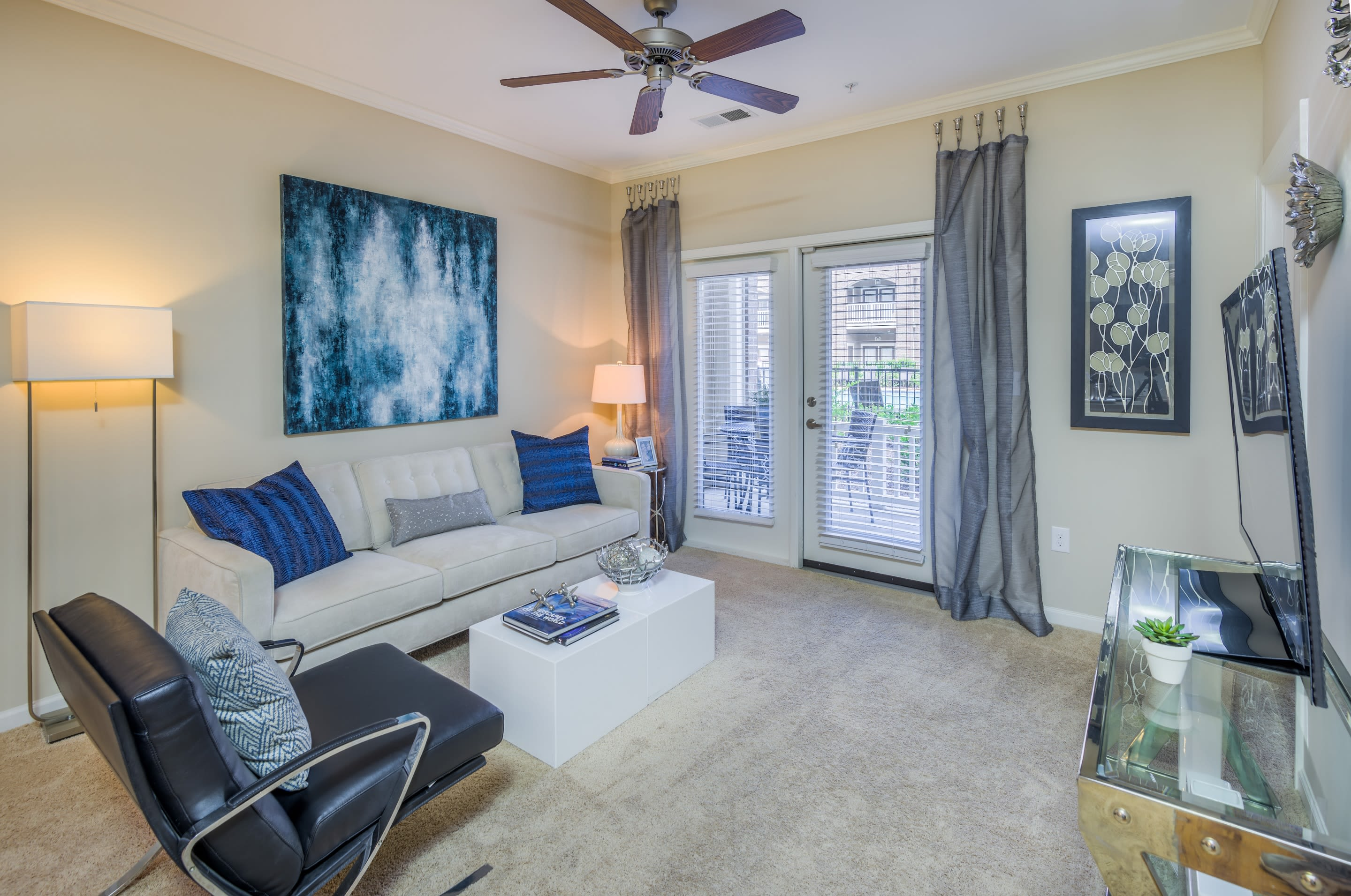 Our living rooms showcase beautiful natural light at  Sterling Town Center in Raleigh, North Carolina