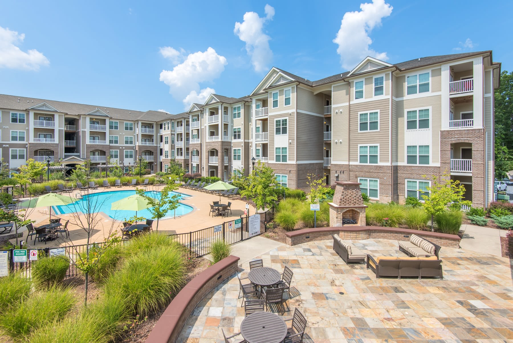 Outdoor seating by our resort style pool in Raleigh, North Carolina