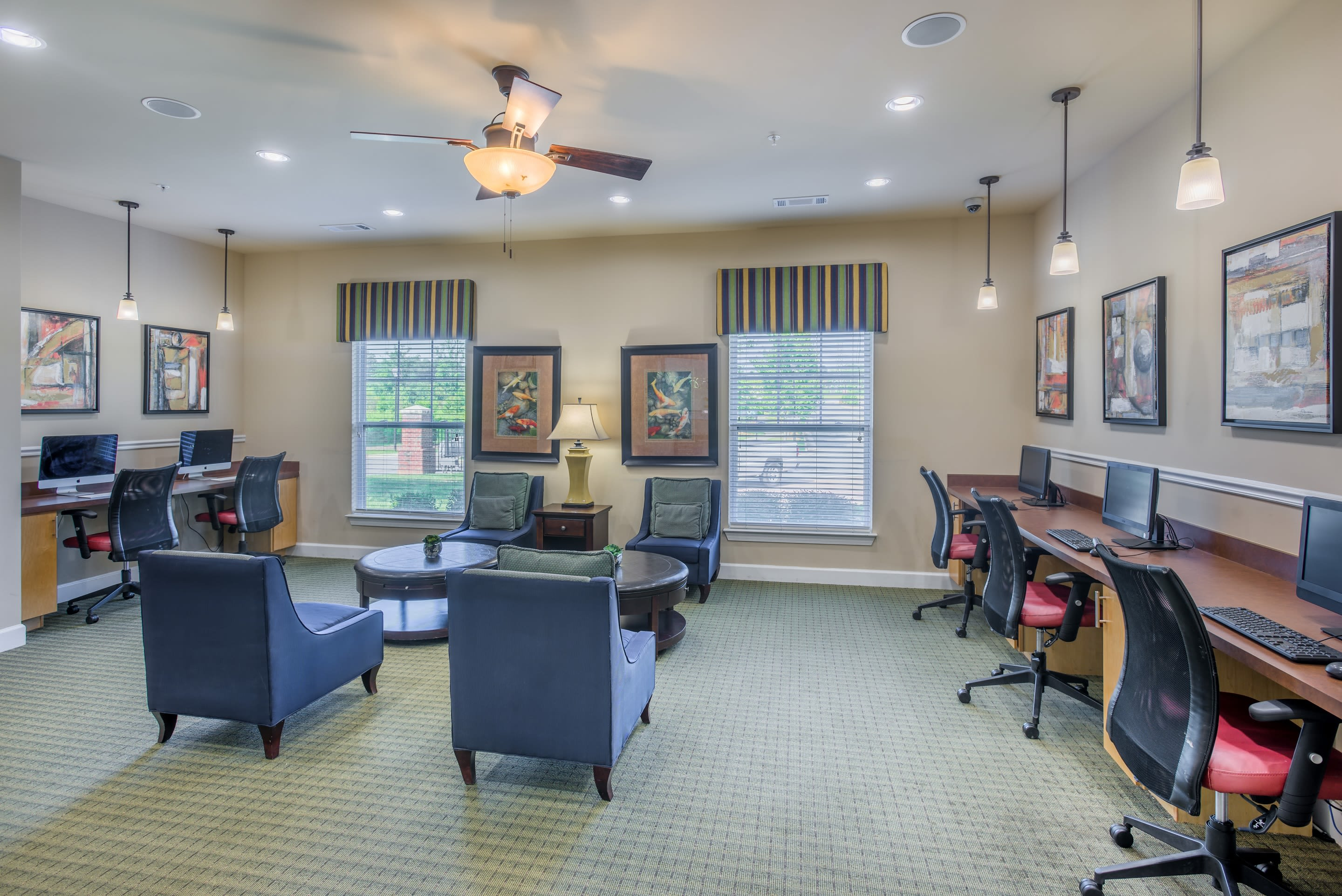 Fully equipped resident business center at The Vive in Kannapolis, North Carolina