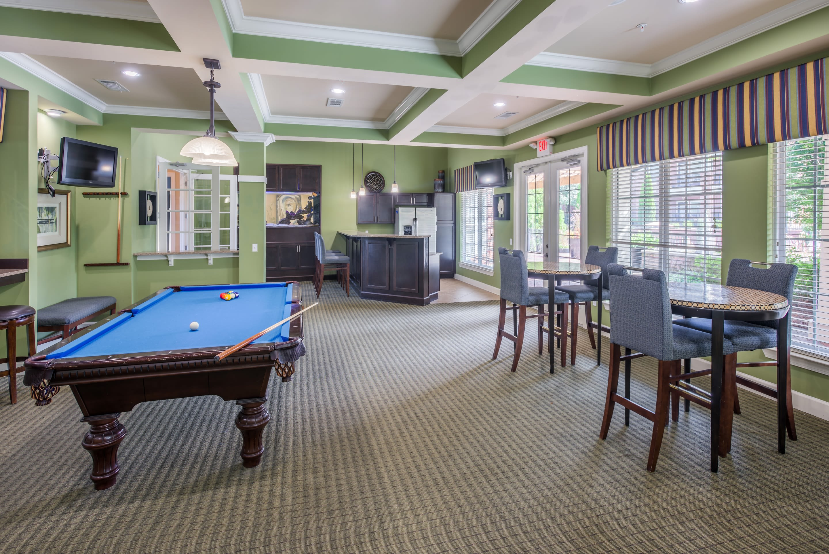 Billiards and clubhouse at The Vive in Kannapolis, North Carolina