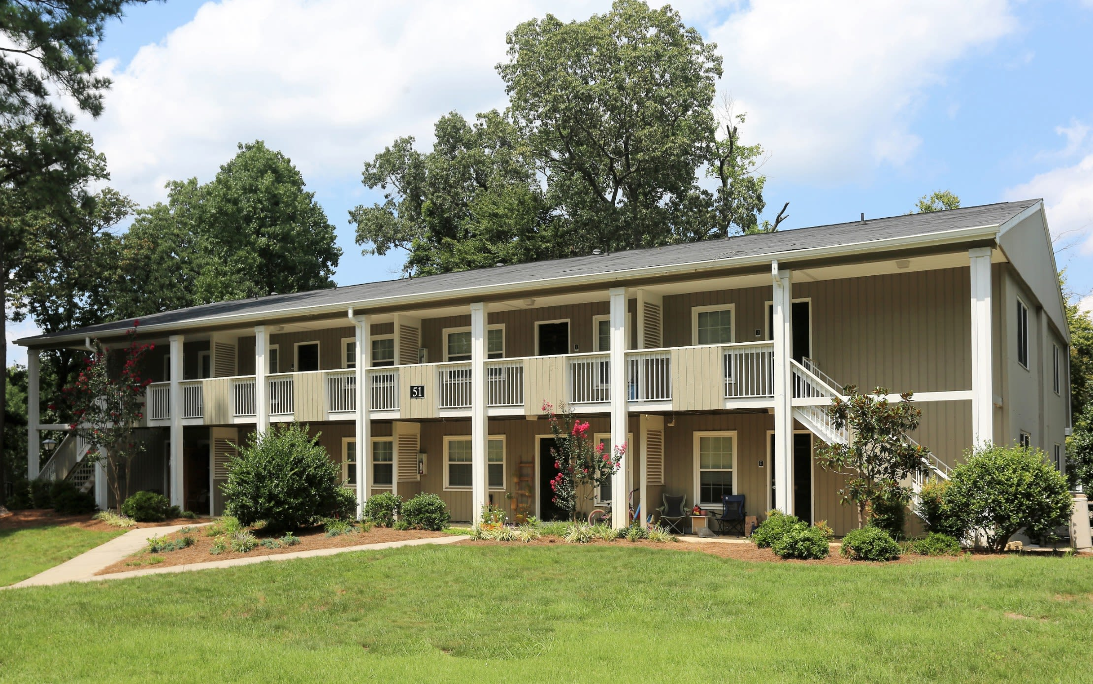 Building Exterior with Landscaping @ Greensboro, NC Apartments