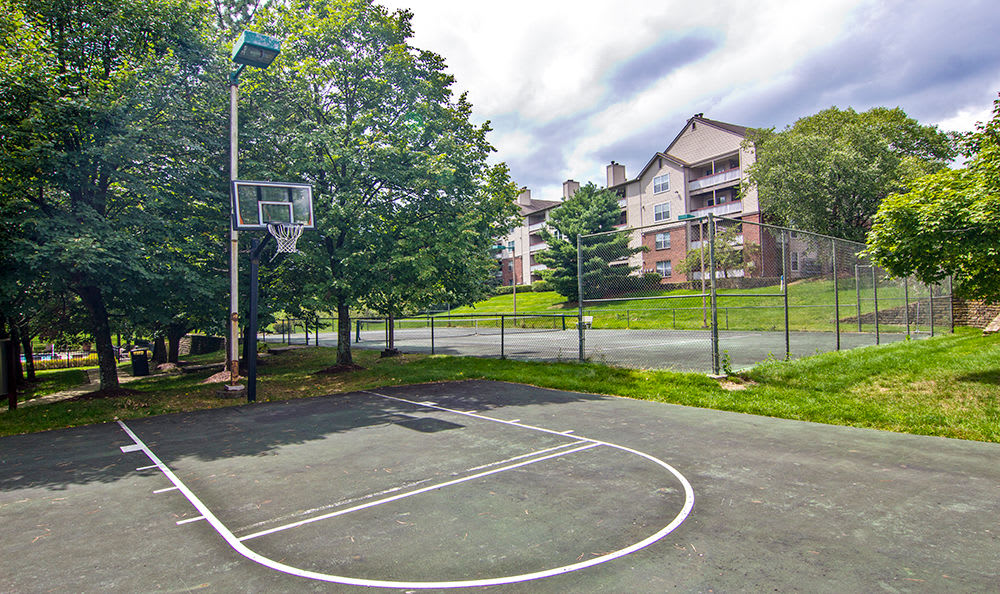 Basketball court at apartments in Pittsburgh, Pennsylvania