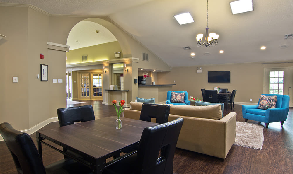 Modern clubhouse at apartments in Pittsburgh, Pennsylvania