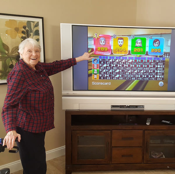 seniors' wii bowling