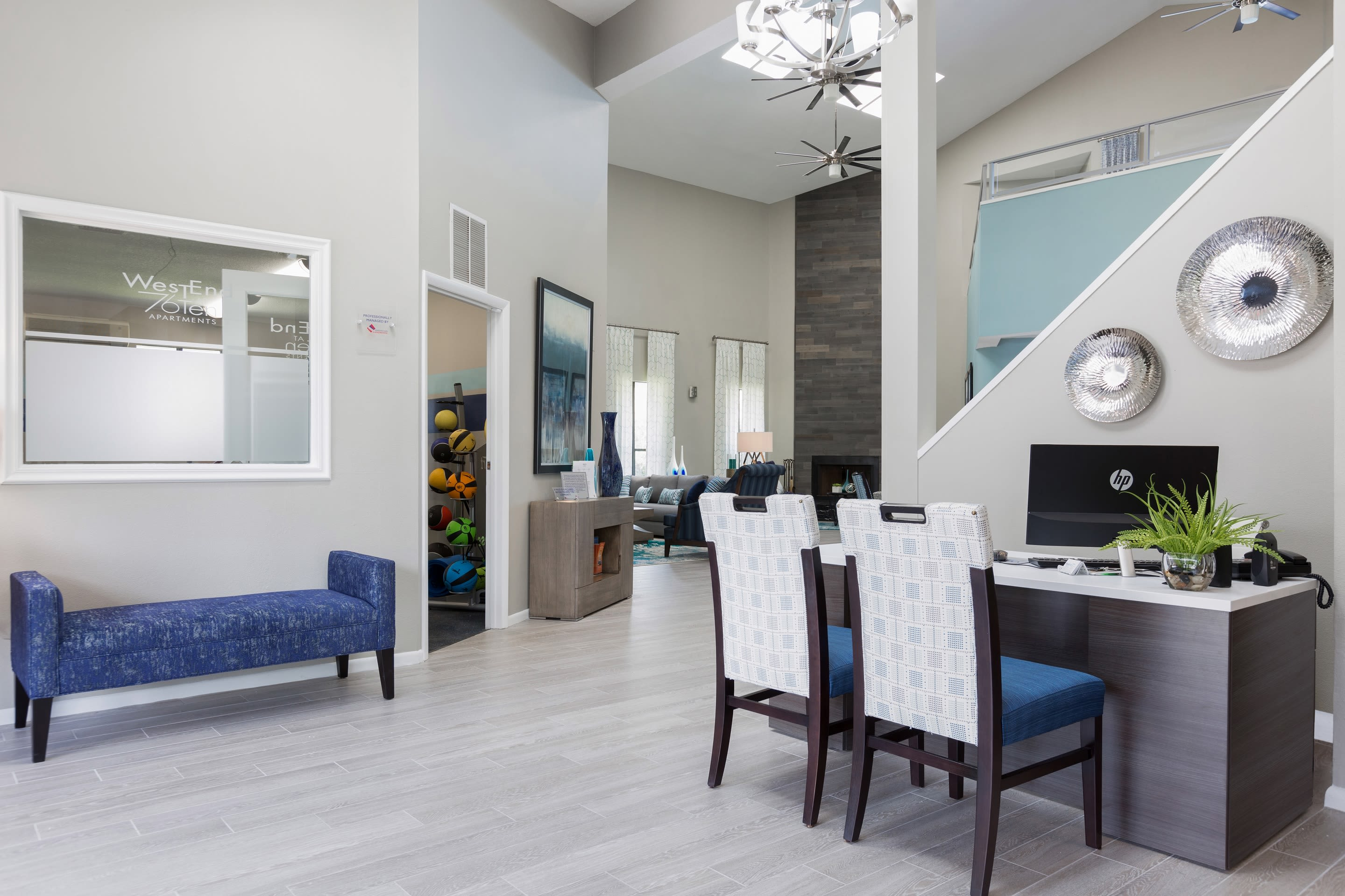 Clubhouse with amenities poolside at WestEnd At 76Ten in Tampa, Florida