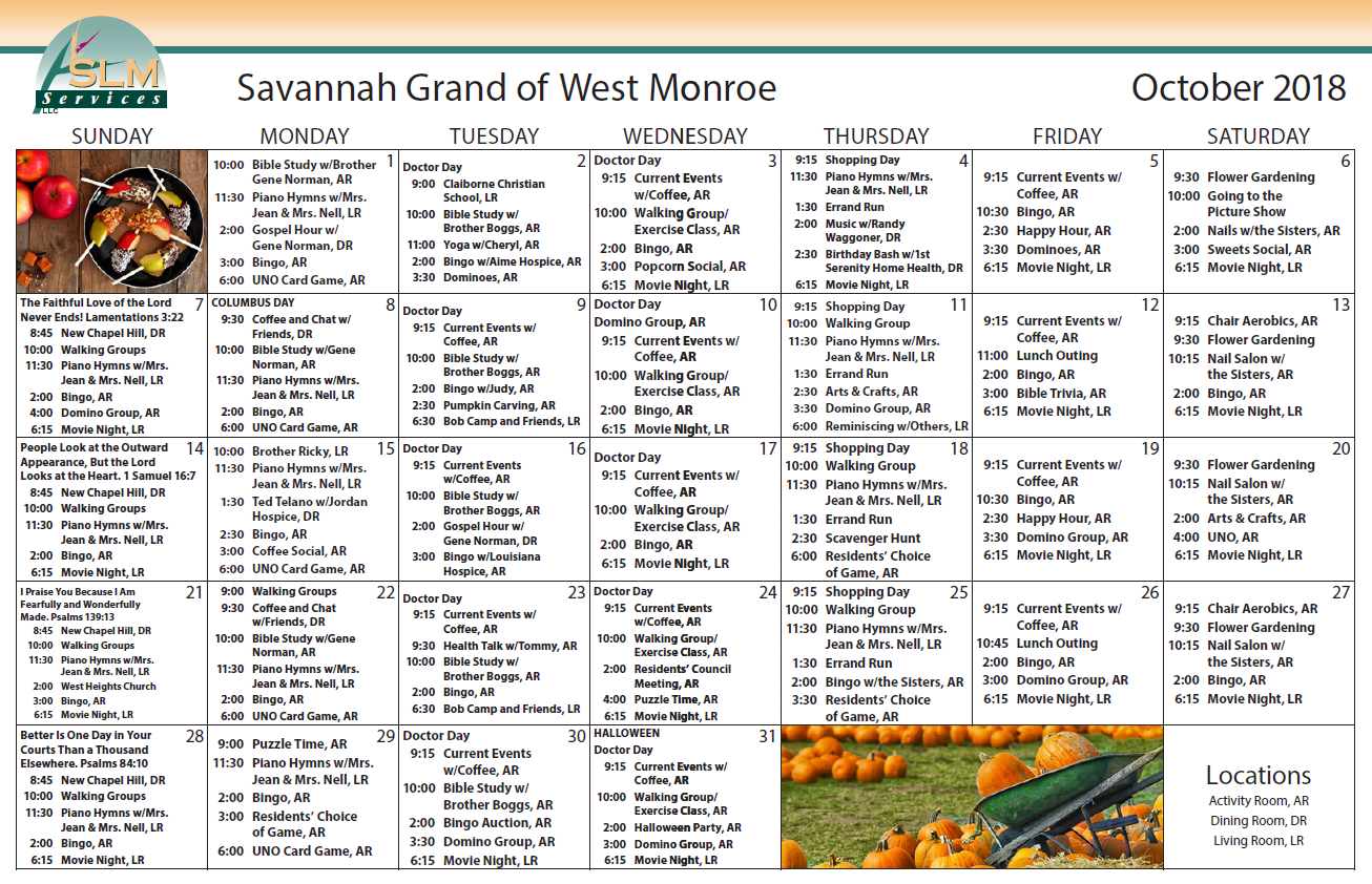 View our monthly calendar of events at Savannah Grand of West Monroe