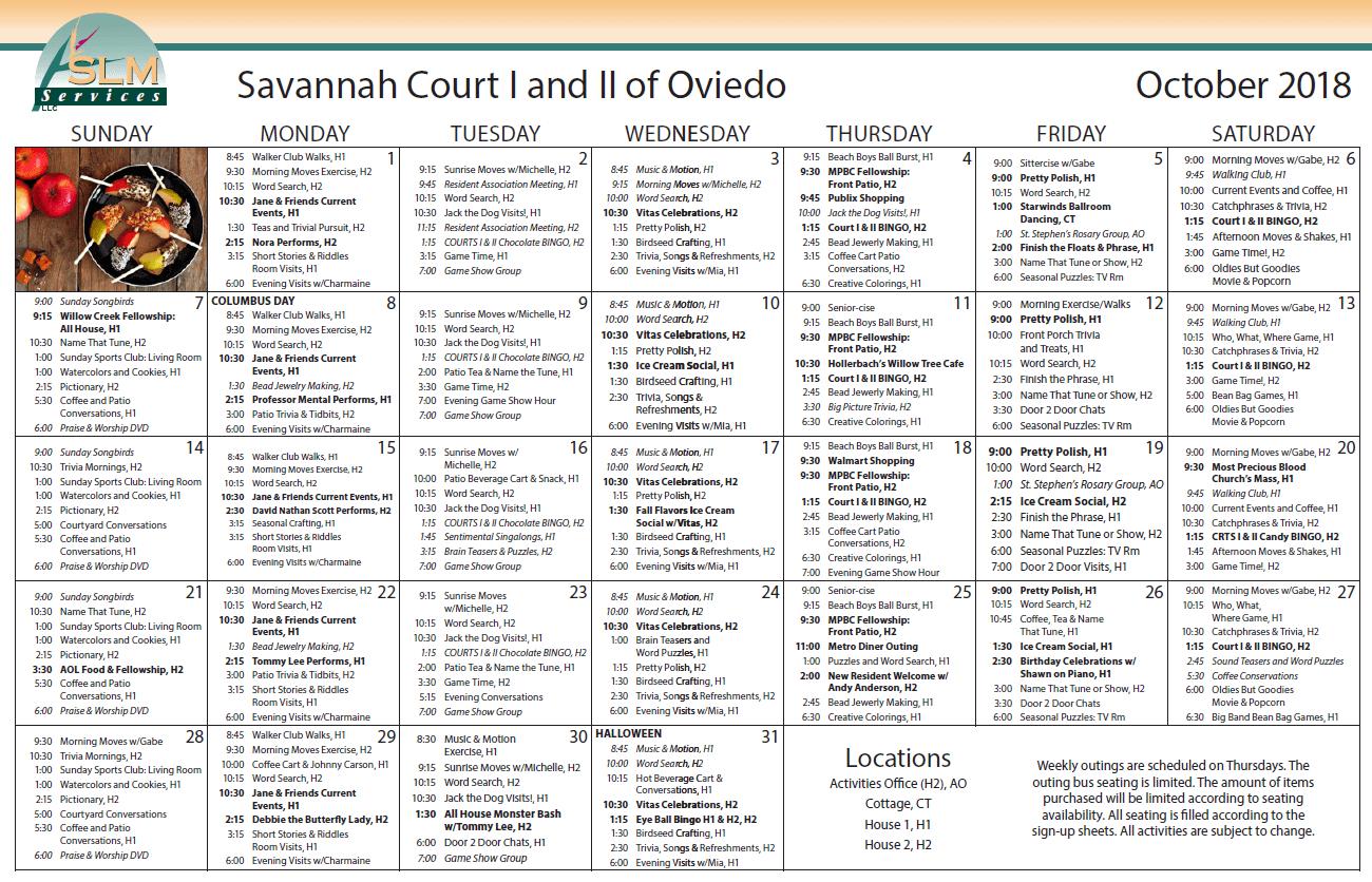 View our monthly calendar of events at Savannah Court and Cottage of Oviedo