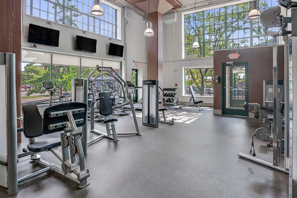 State-of-the-art fitness center at apartments in Cleveland, Ohio
