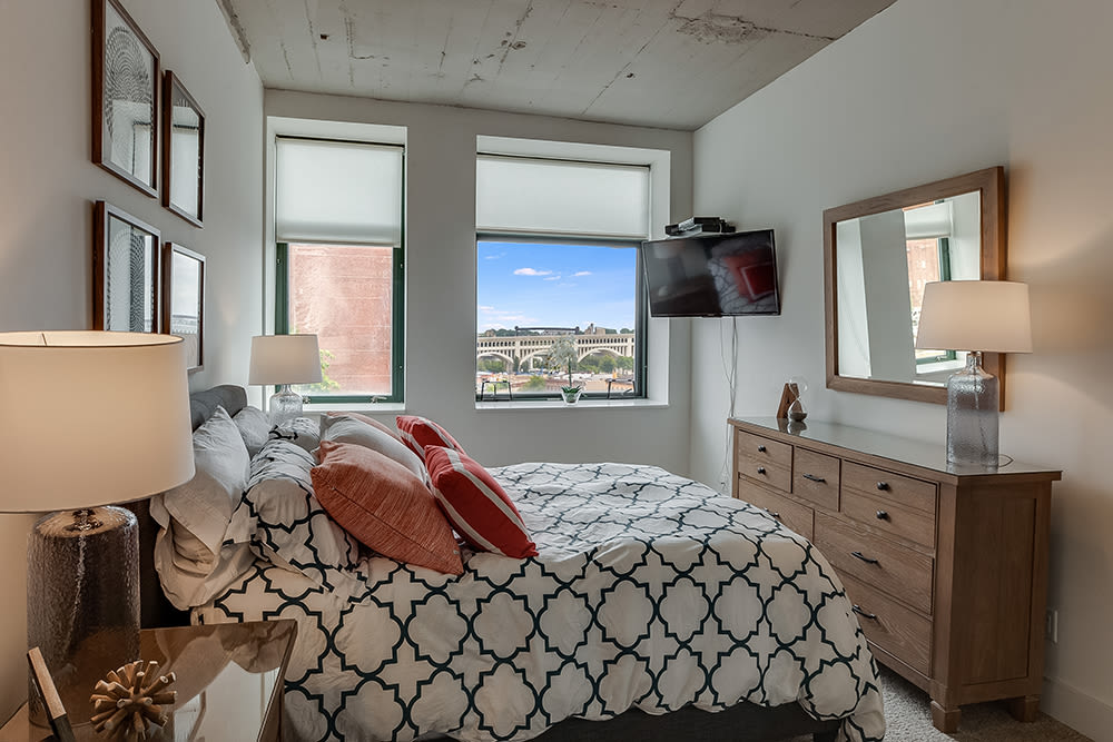 Natrually well-lit bedroom at apartments in Cleveland, Ohio