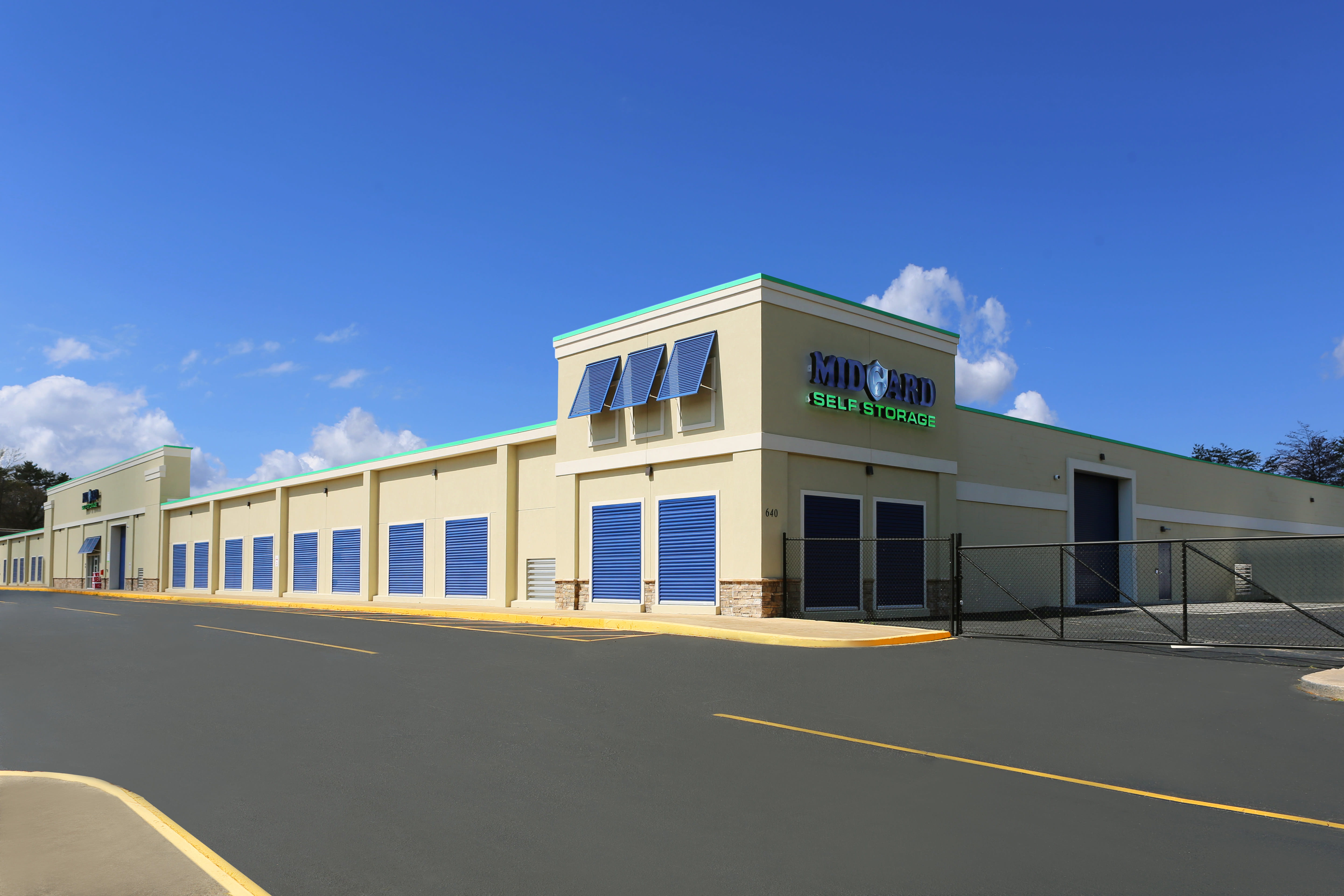 Midgard Self Storage front view in Greenville, South Carolina